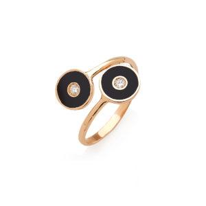 Anello Optical in oro con smalto e diamanti