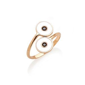 Anello Optical in oro con smalto e diamanti neri