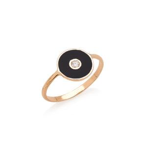 anello optical in oro con smalto e diamante bianco