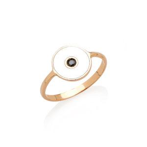 Anello Optical in oro con smalto e diamante nero