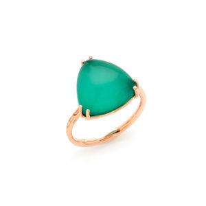 anello in oro con crisoprasio