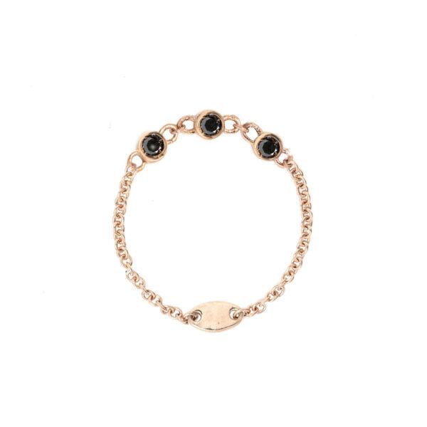 anello diamantina in oro con diamanti neri