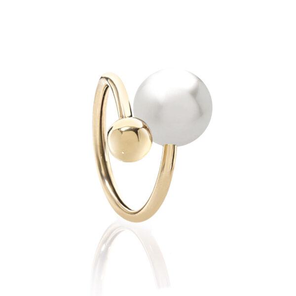 Anello gioia in oro con perla